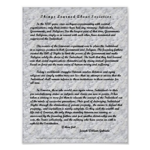 Things Learned About Societies Poster