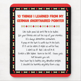 Things Learned From My German Shorthaired Pointer Mouse Pad
