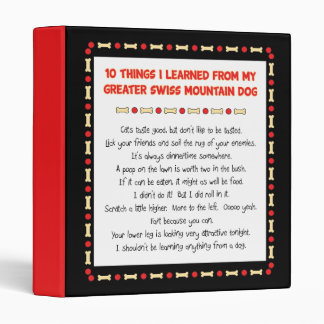 Things Learned From My Greater Swiss Mountain Dog 3 Ring Binder