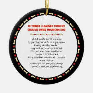 Things Learned From My Greater Swiss Mountain Dog Christmas Ornament