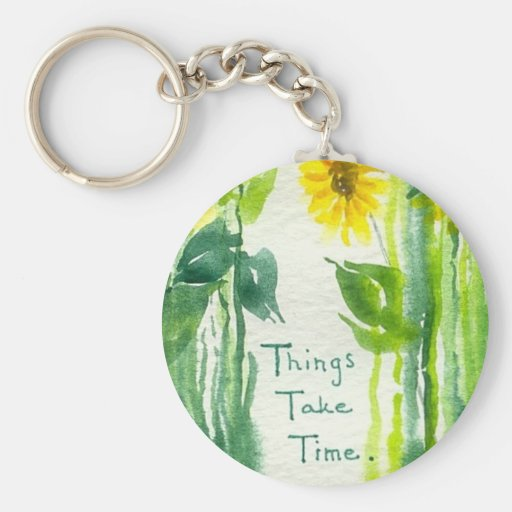 Things Take Time Sunflower Painting Key Chains