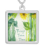 Things Take Time Sunflower Painting Necklace