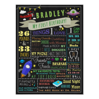 Things That Fly Boys First Birthday Poster