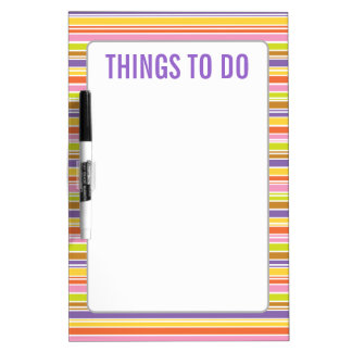 Things To Do, Colorful Stripe Pattern Dry Erase Board