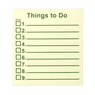 Things To Do Memo Note Pad