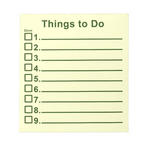 Things To Do Memo Pads