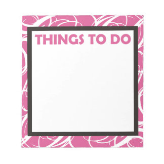 Things To Do pink Memo Note Pads
