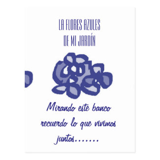 Things with blue flowers to give postcard