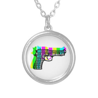 Things With Guns On Silver Plated Necklace