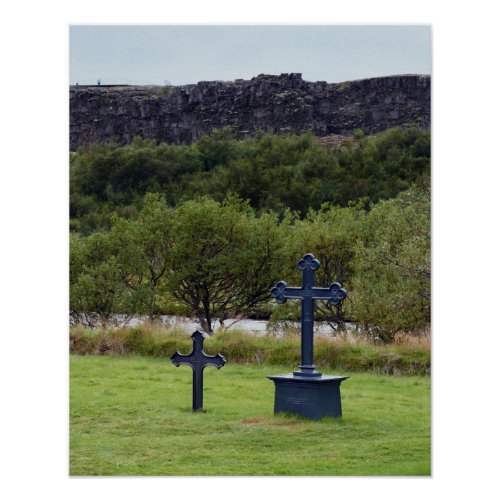 Thingvellir Church Cemetery, Iceland Poster