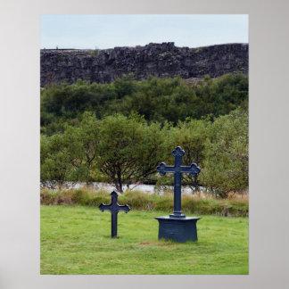 Thingvellir Church Cemetery, Iceland Poster