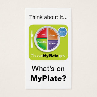 Think About MyPlate Bookmark - White Business Card