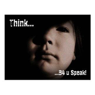 Think B4 u Speak! Postcard