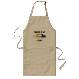 Think Before You Act Play Chess (Reflective Chess) Long Apron