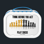 """Think Before You Act Play Chess Reflective Chess Lunch Box<br><div class=""""desc"""">Avid chess players and chess teachers will enjoy this lunchbox featuring a reflective chess set along with the following sound chess advice: &quot;Think Before You Act Play Chess&quot;. It&#39;s no secret that chess players devote a fair amount of time to introspection and thought about which move to play next. Showcase...</div>"""
