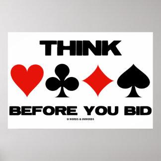 Think Before You Bid (Duplicate Bridge Card Suits) Poster