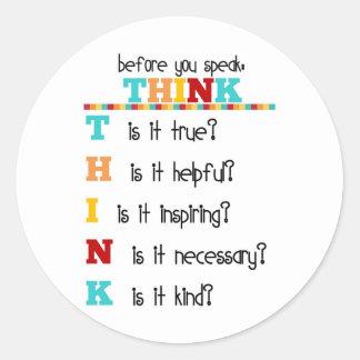 Think Before you Speak Classic Round Sticker