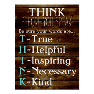 Think Before You Speak Classroom Teacher Poster