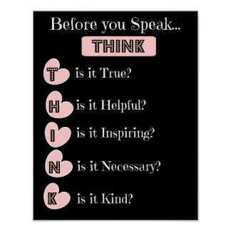 THINK before you speak, Family Poster (pink black)