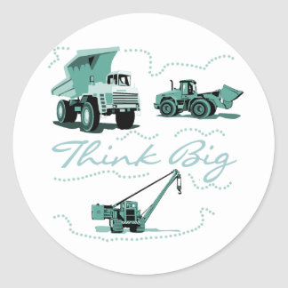 Think Big Construction T-shits and Gifts Classic Round Sticker