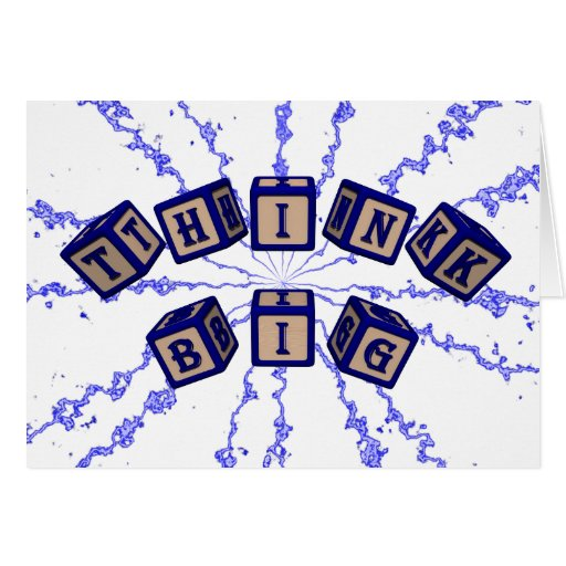 Think Big toy blocks in blue. Greeting Card