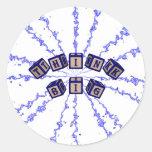Think Big toy blocks in blue. Round Stickers
