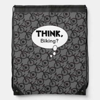 Think, Biking Silhouette Pattern Drawstring Backpack