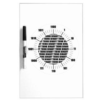 Think Binary Clock (Geek Humor) Dry Erase Whiteboard