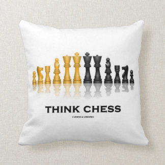 Think Chess Reflective Chess Set Chess Advice Throw Pillow