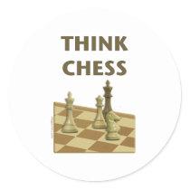 Think Chess Round Sticker