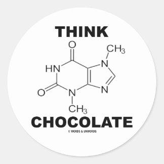 Think Chocolate (Theobromine Molecule Chemistry) Classic Round Sticker