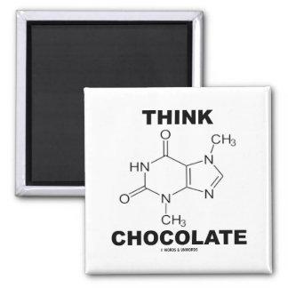 Think Chocolate (Theobromine Molecule Chemistry) Magnet