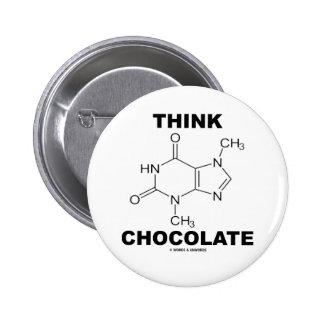 Think Chocolate (Theobromine Molecule Chemistry) Pinback Button