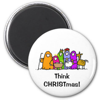 Think CHRISTmas! 2 Inch Round Magnet