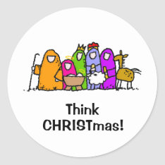 Think CHRISTmas! Classic Round Sticker at Zazzle