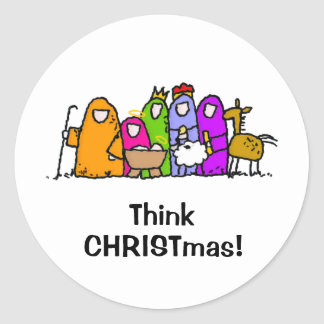 Think CHRISTmas! Classic Round Sticker