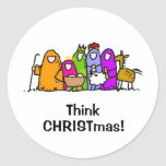 Think CHRISTmas! Round Sticker