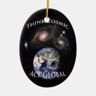 Think Cosmic; Act Global: new for OWS Double-Sided Oval Ceramic Christmas Ornament