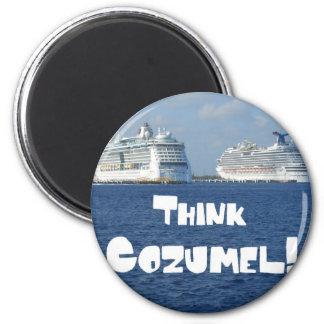 Think Cozumel! 2 Inch Round Magnet