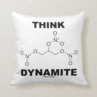 Think Dynamite Chemical Nitroglycerin Molecule Throw Pillow