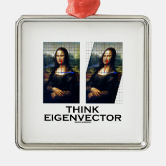 Think Eigenvector (Mona Lisa Restored) Square Metal Christmas Ornament