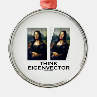 Think Eigenvector (Mona Lisa Restored) Round Metal Christmas Ornament