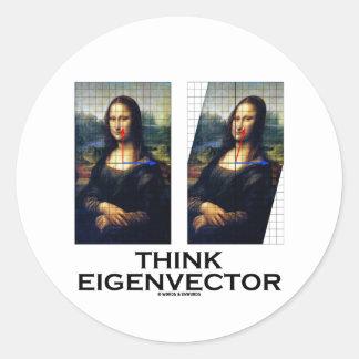 Think Eigenvector (Mona Lisa Restored) Classic Round Sticker
