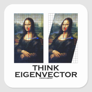 Think Eigenvector (Mona Lisa Restored) Square Sticker