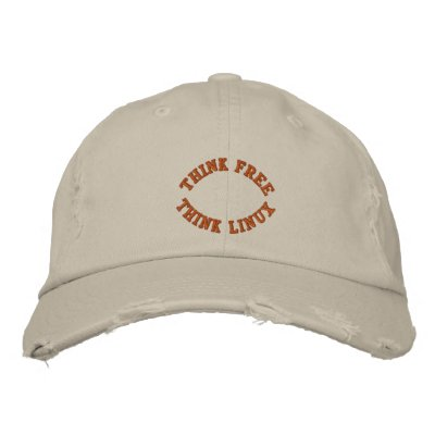 Think Free, Think Linux Embroidered Hats