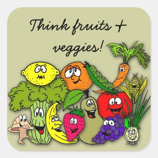 think fruits 'n veggies square sticker