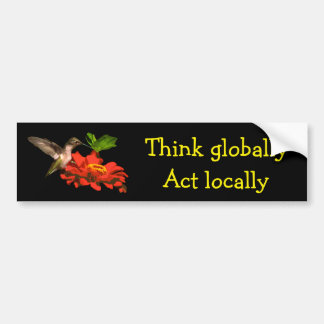 Think Globally Act Locally Red Bumper Sticker