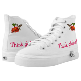 Think Globally Act Locally Red Hummingbird High-Top Sneakers