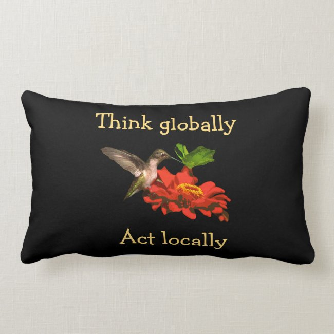 Think Globally Act Locally Red Lumbar Pillow