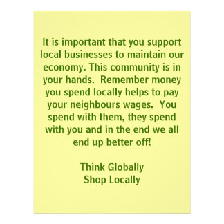 think Globally Shop Locally Personalized Flyer